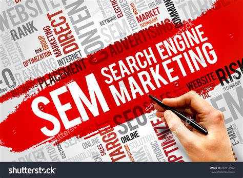 search engine marketing business sem search engine marketing word cloud stock photo