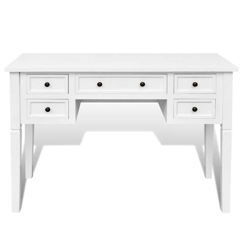 bureau pin blanc vidaxl co uk white writing desk with 5 drawers