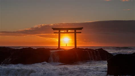 wallpaper  sea arch sunset torii