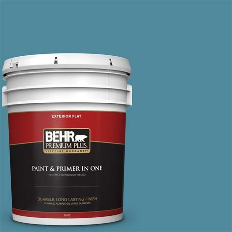 behr premium plus 5 gal s460 5 blue square flat exterior paint 430005 the home depot