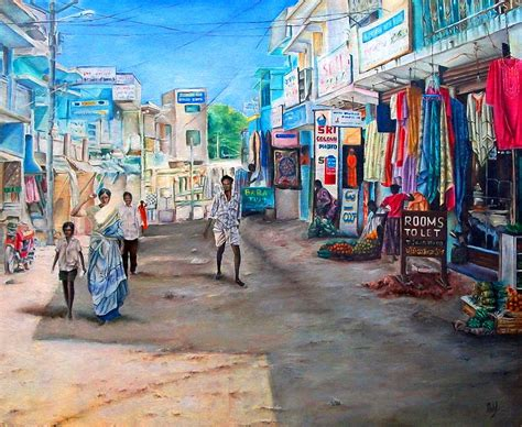 indian street painting  michel angelo rossi