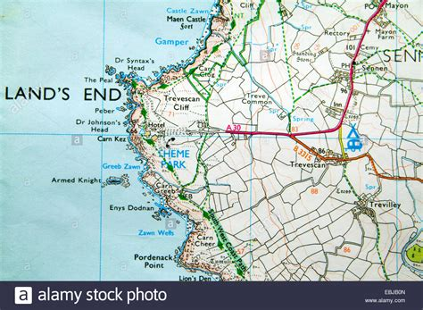 Ordnance Survey Map of Lands End, Cornwall, England Stock ...