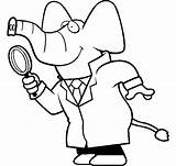 Detective Magnifying Glass Coloring Cartoon Elephant Using Crosses Three Drawing Pages Template Netart Printable Clipartmag Getcolorings sketch template