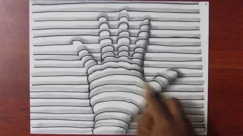 draw   hand  lines  paper easy trick art
