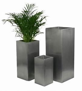 Cache Pot Haut : 50cm petit cache pot haut carr en zinc gris argent 39 99 ~ Teatrodelosmanantiales.com Idées de Décoration
