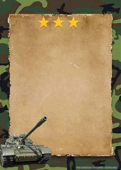 Invitation Camouflage Birthday Printable Military Templates Border