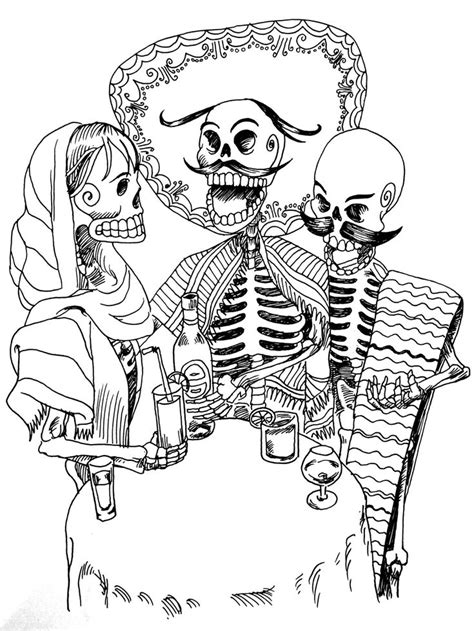 Free coloring page «coloring-tatouage-skeletons». 3 skeletons (Mexican?) Drinking an aperitif, a