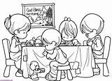 Eating Before Praying Coloring Prays Pray Pages Quietly Each Person sketch template