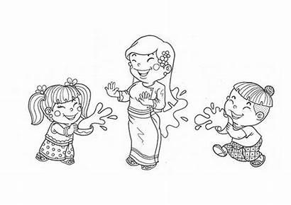 Festival Songkran Thingyan Water Myanmar Coloring Cartoon