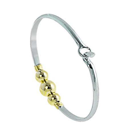 Cape Cod Wire Wrap 3 Gold Ball Cuff Bracelet