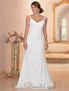 cap sleeves sheath v neck ruched bodice wedding dresses With ruched wedding dress