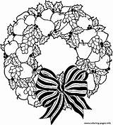 Coloring Christmas Wreath Pages Holiday Printable Print sketch template