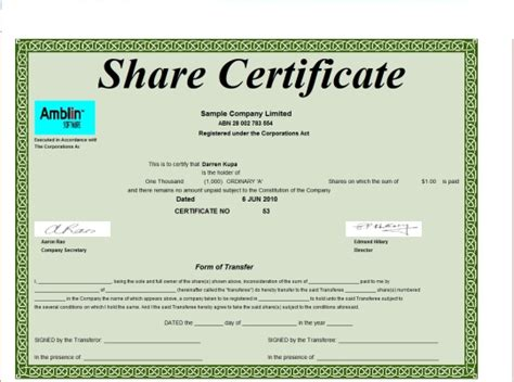 Template For Share Certificate