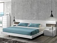 modern platform bed White Modern Platform Bed with LED
