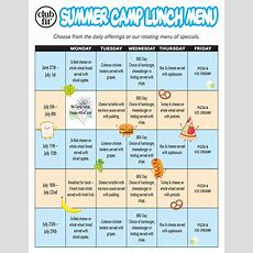 Free Camp Lunch Menu  Kids Summer Camps Briarcliff