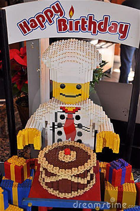 lego sculpture happy birthday editorial stock photo