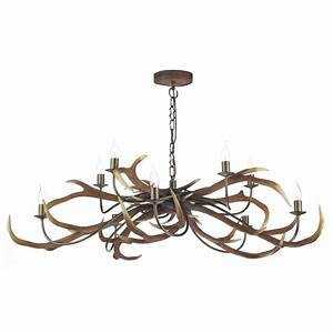 Large uk made stag anter ceiling light hanging on chain