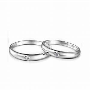 Inexpensive couples matching diamond wedding ring bands on for Silver wedding rings for couples