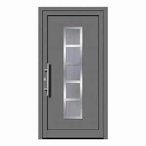 porte d39entree gris en ligne pas chere fenetre24com With porte d entrée pvc avec fenetre pvc gris