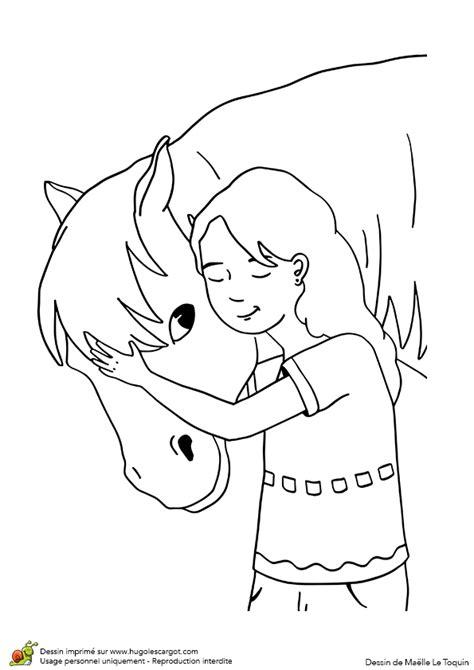 dessin  colorier dun poney  dune petite fille