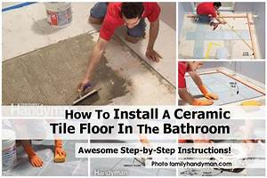 How to install a ceramic tile floor in the bathroom for How to lay tiles in the bathroom