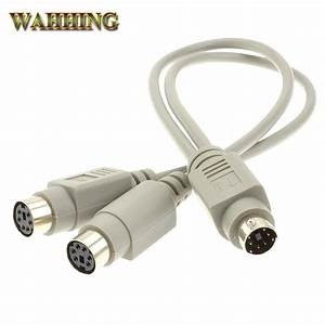 6 Pin Ps2 Male To Female Extension Cable Y Splitter