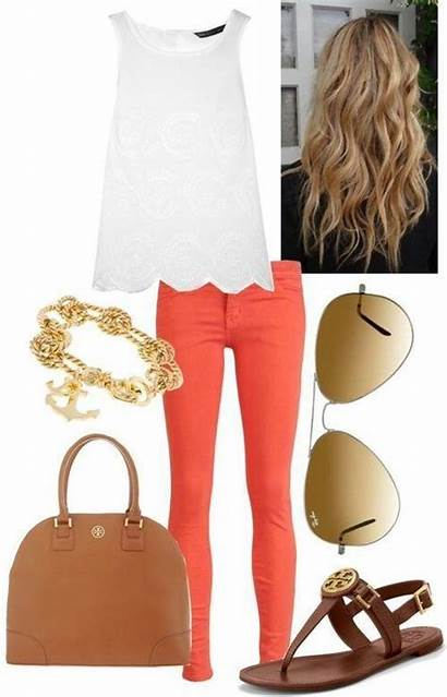 Outfits Preppy Summer Spring Outfit Coral Polyvore