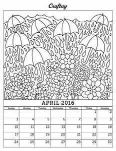 calendar coloring page - free april 2016 coloring page calendar
