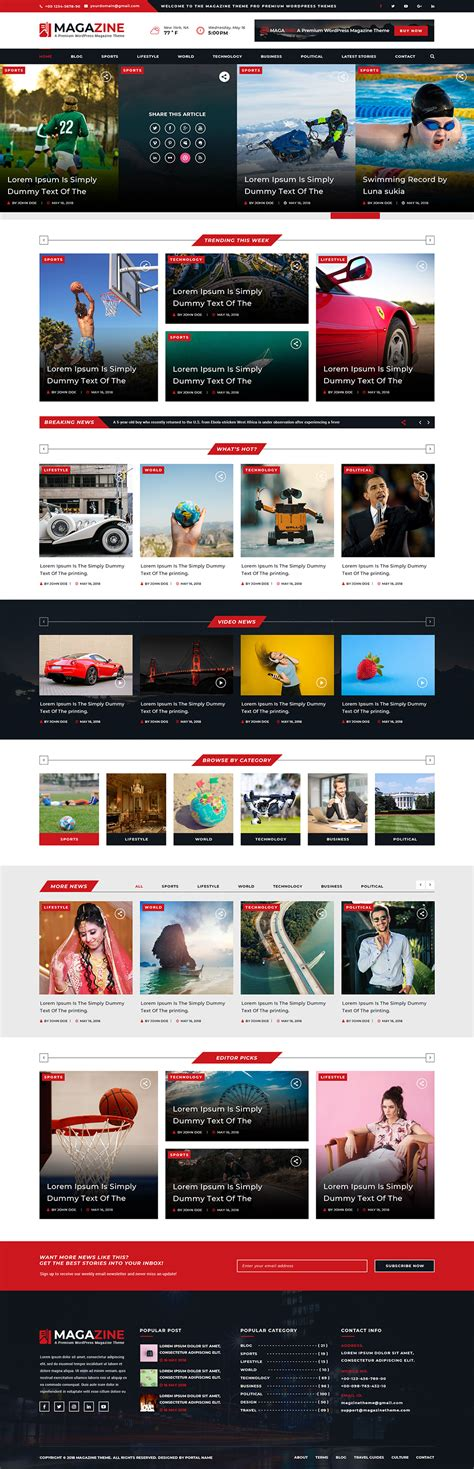 Magazine Wp Themes Premium Magazine Theme For Newsletter And Magazines
