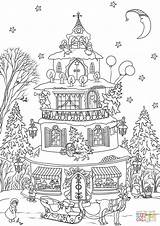 Coloring Christmas Pages Printable Gingerbread Haunted Candy Colouring Merry Colorings Printables Garden Sheets Drawing Sheet Village Tree Adult Dot Nature sketch template