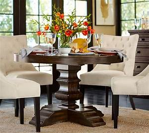 banks extending pedestal dining table pottery barn With banks bed pottery barn