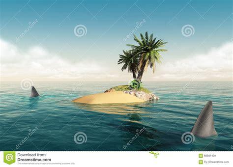 small island with sharks stock illustration image of kill 66881430