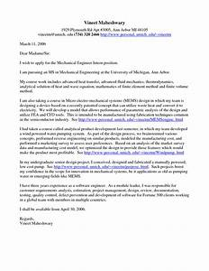 sample cover letter for a mechanical engineer With cover letter for summer internship in engineering