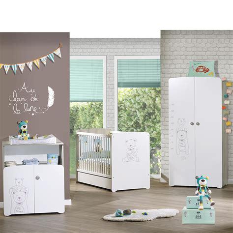 chambres de bébé chambre bébé trio teddy lit 60x120cm commode armoire