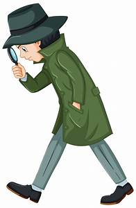 Detective in green overcoat with magnifying glass Vector ...
