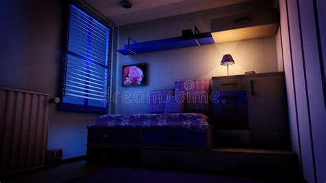 Kids Bedroom At Night Stock Illustration. Illustration Of
