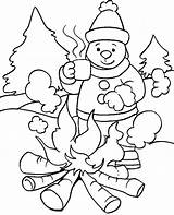 Coloring Winter Pages Sledding Print Snowman Cartoon sketch template