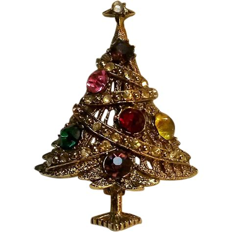 hollycraft christmas tree pin sold on ruby lane
