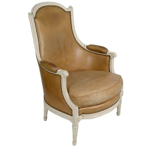 louis xvi leather bergere chair at 1stdibs