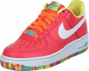 Nike Air Force 1 GS shoes neon red yellow