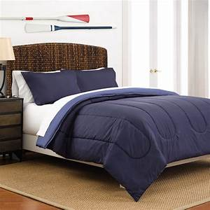Martex, Reversible, Lightweight, 3-piece, Comforter, Set, King, Navy, Cecil, Blue
