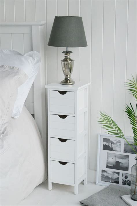 dorset tall white slim bedside table   drawers