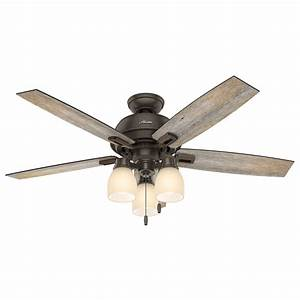 Hunter donegan in onyx bengal bronze downrod or close mount indoor ceiling fan with