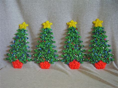 melted plastic popcorn decorations  small christmas trees