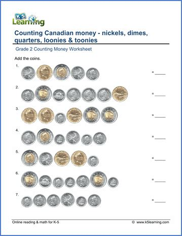 grade 2 money worksheets counting canadian coins