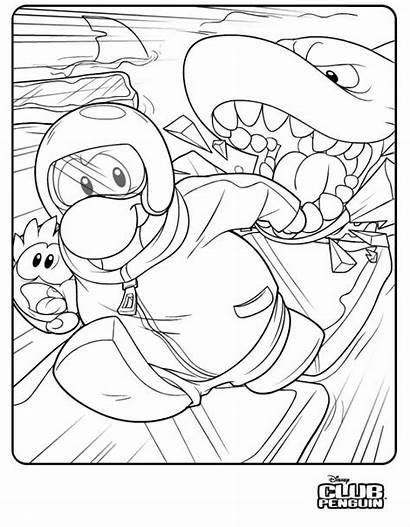 Penguin Club Coloring Pages Puffles Secret Agent