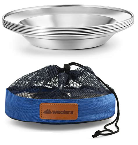 camping plates plate steel dinnerware stainless portable inch bpa ultra picnic hiking rated amazon bbq outdoor beach