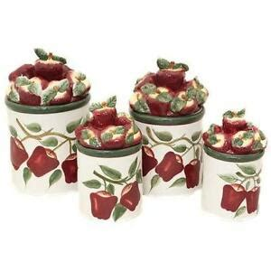 Apple Kitchen Canisters by Apple Canisters Ebay