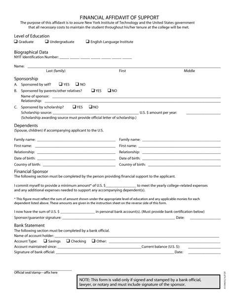 affidavit template 48 sle affidavit forms templates affidavit of support form free template downloads