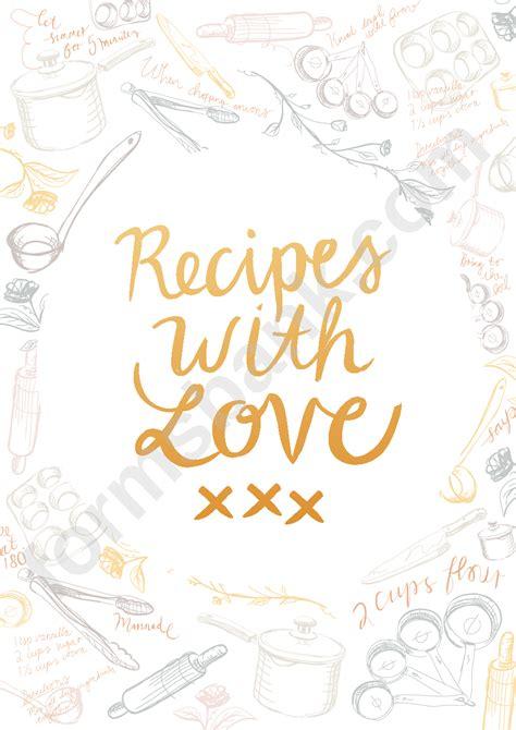 recipe book cover template printable